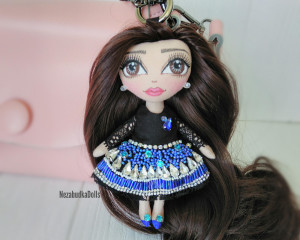 Handcrafted rag doll handmade Custom Crystals bag charm doll Christmas gift for daughter