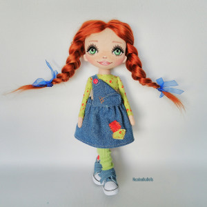 Red hair hooligan doll Personalized Rag doll Bedroom decor Birthday Gift for daughter Christmas gift for girl collector Art doll