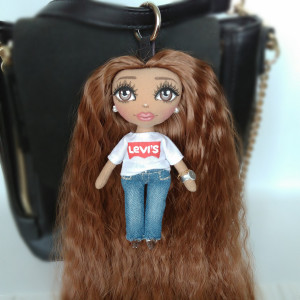 Mini rag doll Levi's style, Christmas gift, Bag Charm Accessory