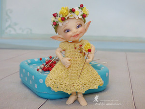 Knitted yellow dress with flowers hoop Spring has come for bjd dolls format Realpuki Lati white dolls  knitted Dress