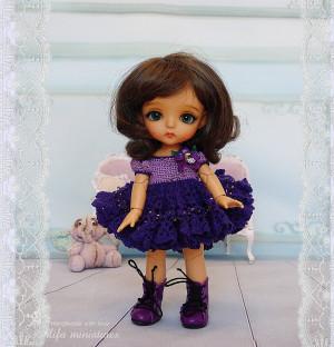 Purple Lati Yellow dress Irrealdoll Pukifee Nikki Britt Outfit Purple Phalaenopsis dress for bjd dolls format tiny PukiFee Lati Yellow