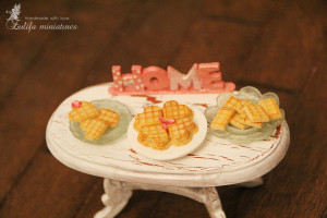 Waffle set polymer clay Playscale Dollhouse Miniatures Dollhouse miniature food for dolls Sylvanian food Calico Critters food doll furniture