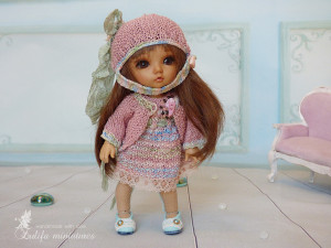 "Lati Yellow Irrealdoll Pukifee Nikki Britt Aquarius knitted doll pink Outfit ""Pink rosebud"" for dolls Doll clothes for bjd doll clothes"