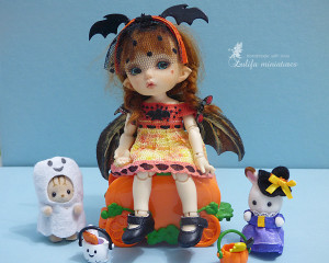"Pukifee Lati Yellow Irrealdoll Nikki Britt Outfit ""Halloween bat""doll wings/rim/dress for bjd dolls format tiny PukiFee/Aquarius/Lati Yellow"