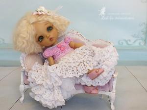 Pukifee knitted dress Lati Yellow Outfit Tender heart for dolls format Tiny PukiFee Aquarius Lati Yellow