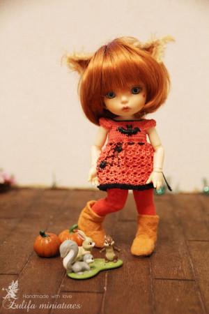 "Lati Yellow\Irrealdoll\Pukifee\Nikki Britt Outfit ""Halloween squirrel"" dress for bjd dolls format tiny PukiFee/Aquarius/Lati YellowTo Order"