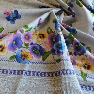 "Table-cloth with violets, blue table-cloth, violet table-cloth.Pattern""farmhouse decor.linen fabric.violets.bright tablecloth"