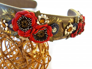 Genuine leather hair band with flowers from poppies and daisies, unique accessory for the head, women's hair decoration