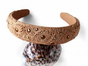 Beige Headband Genuine Leather Headband with Golden Pearls, Head Accessories, Hair Ornament