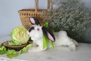 Easter bunny custom portrait, realistic OOAK art doll, white rabbit, stuffed animal, hare toy, birthday gift ideas, woodland nursery decor