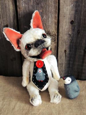 French bulldog named Penguin. Teddy bear. Portrait your pet Artist teddy bears.Portrait your pet. OOAK. Gift on Valentine's Day Gift For her