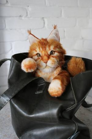Personalized pet portrait, Main Coon cat custom toy, plush animal, cat lover memorial gift, realistic stuffed red kitten, handmade art doll