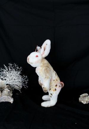Easter bunny, snail stuffed animal, kawaii rabbit collectible toy, OOAK plush creepy cute art doll, nursery bedroom decor, rabbit lover gift