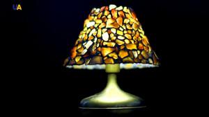 Stone Tiffany OOAK art lamp, amber-coloured quartz, exclusive house decor, unique prestigious gift
