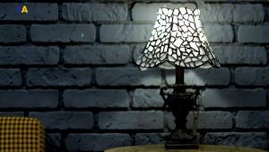 White elegant table lamp, sea stained glass OOAK, white + bluish sea glass mosaic
