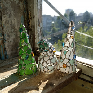 Snowman + Christmas tree figurines set, sea stained glass, home decor candle holder OOAK recycled art