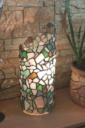 Sea glass stained glass light column - table or floor lamp, original nightlight