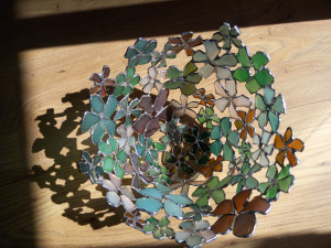 Home decor interior basket, delicate openwork bowl/vase, sea stained glass flower art accent piece