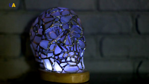 White 3D skull, remote controlled sea stained glass night light, Halloween, pagan witchy magic