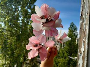 Pink sea glass flowers (painted!), peony chrysanthemum poppy anemones