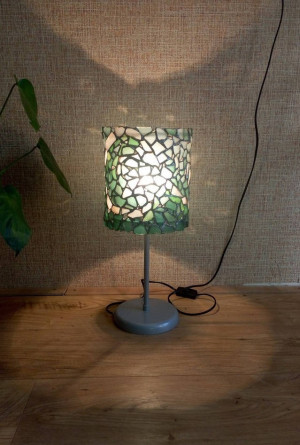 """Table bedroom lamp """"Storm"""", mosaic OOAK blue-white stained sea glass, sea waves pattern"""