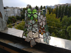 Small flowery lamp shade or bottle lamp, sea stained glass  - made to order art decor, upcycled