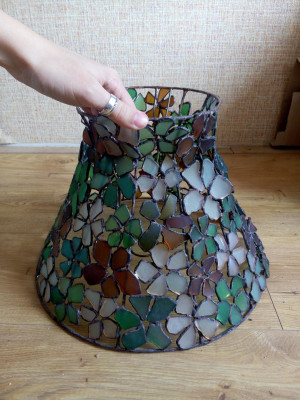 Flower lamp shade for standing lamp, sea stained glass, OOAK beach glass home decor