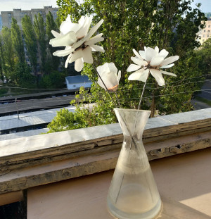 White sea stained glass flowers, peony chrysanthemum poppy anemones