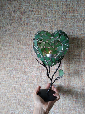 Sea stained glass tealight candle holder Green love tree, heart-shaped art home decor