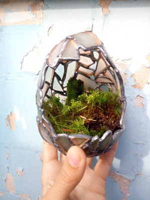 Florarium white dragon egg, candle holder sea stained glass, easter egg home decor, succulent planter