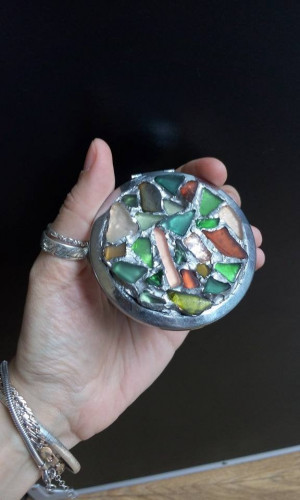 Pocket compact mirror with sea stained glass inlaid abstract mosaic, OOAK exclusive gift for her