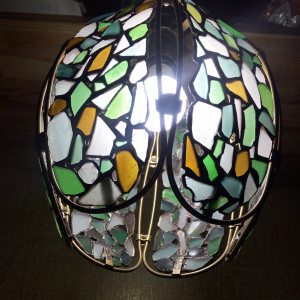 Stained sea glass chandelier, ceiling pendant light, Tiffany style beach glass lamp, rustic interior art