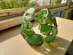 """Dragon """"broken"""" egg candle holder, sea stained glass easter egg, toy accessory"""