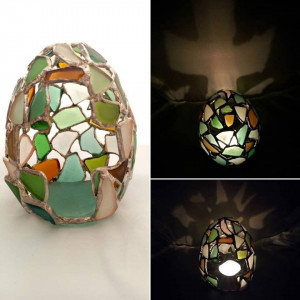 Votive easter egg cross tealight candle holder, dragon egg, sea stained glass
