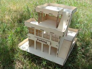 Toy car garage wooden doll house plywood car parking children gift