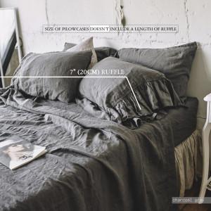 Linen SHEET SET 4pc , france linen sheet , queen bedding , king sheet set , twin bedding RUFFLE bedding set , Stone Washed Softened
