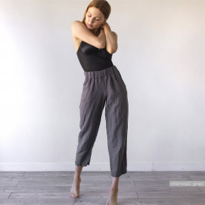 LINEN TROUSERS, womens high waisted trousers, high rise trousers, trousers women, 100% linen, high waisted trousers, highwaisted trousers
