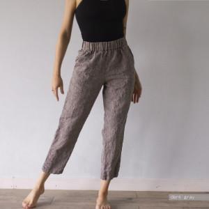 LINEN TROUSERS, linen pants, plus size clothing, plus size, high rise pants, black pants, womens pants, baggy pants, office pants, Lenok