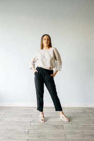 Casual linen high waist pants, elastic waist pants, cropped pants, pants women wide leg plus size linen trousers, linen black pants women