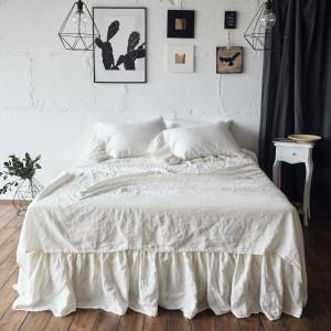 bed SHEET SET 100% linen , 4 pcs linen sheet set , RUFFLE pillowcover , linen bedding set , stonewashed  soft , shabby chic bedding set