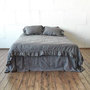 comforter DUVET COVER linen bedding green 3-side RUFFLE duvet cover queen linen duvet cover queen Twin Full Double King California Len.Ok