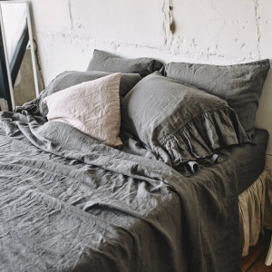 Bed SHEET SET - bed sheet linen flat sheet linen fitted /  Bedding set with RUFFLE pillowcases / King Queen Double California Twin King