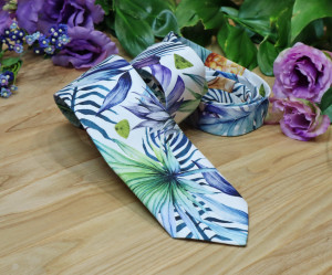Purple Strelitzia Tie Toucan Teal Blue Floral Mens Necktie Tropical Bird Men's skinny tie Pineapple Wedding Ties Necktie Special Order