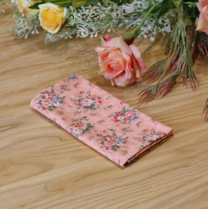 Pocket square Champagne Blush floral  Matching Hanky  Floral Pink Flowers Men's handkerchief  Wedding Ties Bridal Rose Carmine Special Order