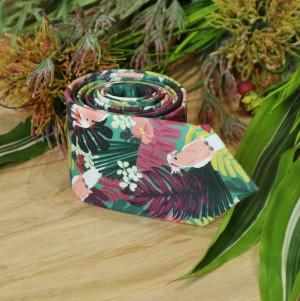 Jamaica Tie Floral Green Cyan Mens Necktie Сockatoo Tropical Bright Pastel Pink Red Men's skinny tie Wedding Ties Necktie Special Order