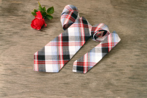 Father and Son Necktie Sets red, blue and black plaid. NeckTie, Tie Set Boys  tie. Boys birthday gift, holiday tie Father's Day