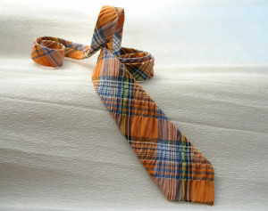 Men's Tie  Necktie Plaid Orange Blue Necktie  Wedding Neckties  Necktie for Men SALE