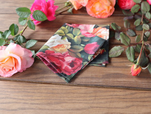 Pocket square Roses Matching Hanky Coral Floral Pink Flowers Men's handkerchief Petal Salmon Wedding Ties Bridal Rose Carmine Special Order