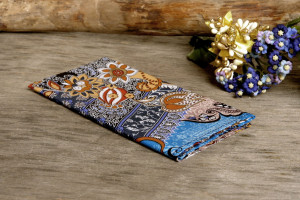 Pocket square Navy with Chocolate Flowers SALE