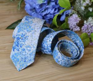 Tie Floral Blue Hydrangea Men's skinny tie Medium Blue Wedding Metallic Wedding Ties  Flowers Special Order